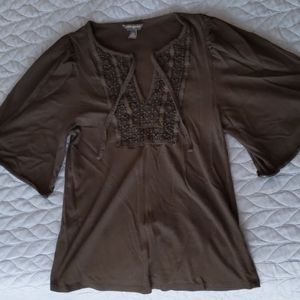 Banana Republic black embroidered wide sleeve top